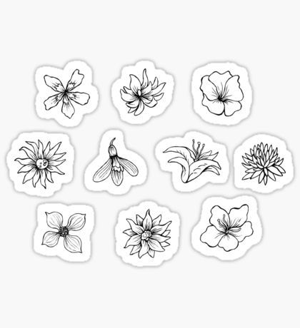 Black And White Flower Stickers Stickers Black Stickers Unique