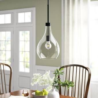 "CHANDELIER BRASS PENDANT CLEAR GLASS DINING ROOM KITCHEN ISLAND 1 LIGHT 9.4/"""