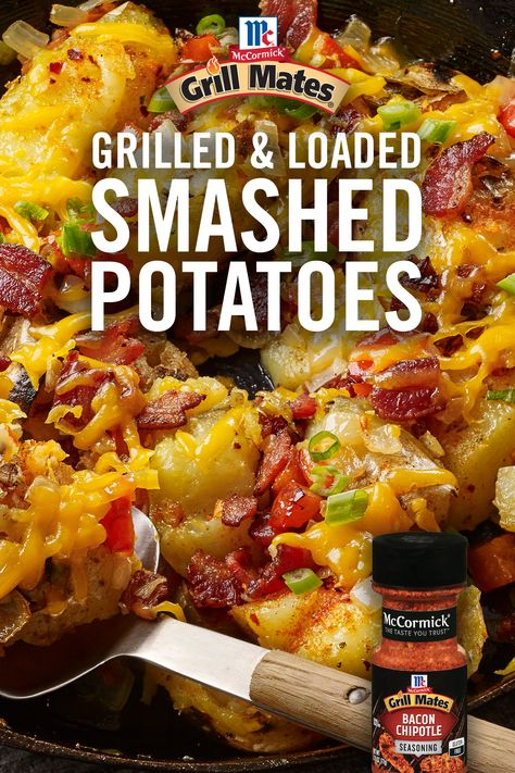 Keep the family happy with this BBQ-ready starter or side! Get the easy recipe by loading grilled potatoes with Grill Mates Bacon Chipotle Seasoning, smoky bacon, bell peppers, onions, and cheddar cheese. Side Dish Recipes, Vegetable Recipes, Chicken Recipes, Grilled Potato Recipes, Potato Side Dishes, Vegetable Dishes, Grilling Recipes, Cooking Recipes, Great Recipes