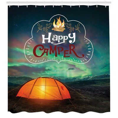 East Urban Home Happy Camper Shower Curtain Set Hooks Happy Campers California Decor Tent
