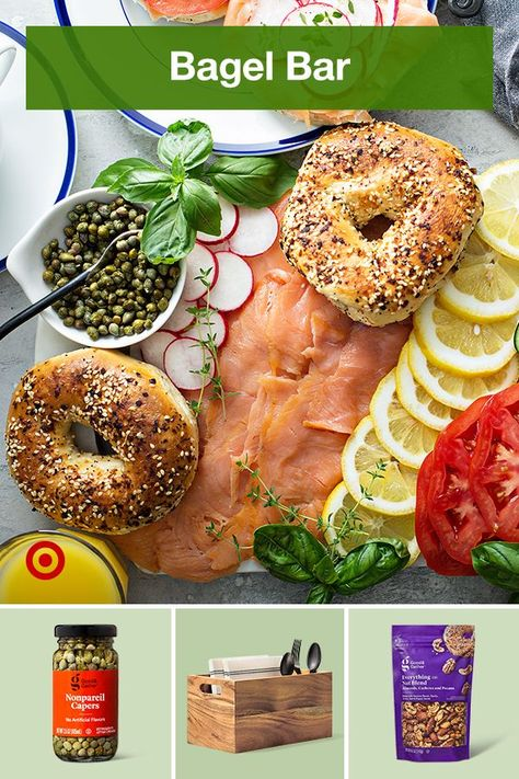 Set up your own bagel bar with creative topping ideas, dips  sauces to create an easy breakfast buffet in minutes.