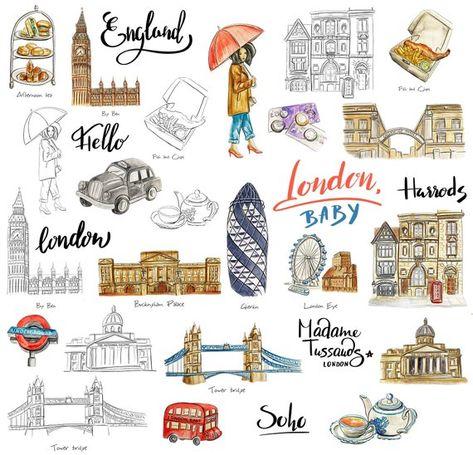 London sticker pack for travel journal or planner Printable | Etsy
