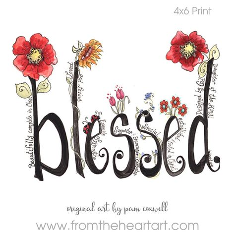 TheBlessedis anoriginal design painted by Pam Coxwel. -The watermark seen on the sample photo will not appear on the print you receive.all designs copyright pam coxwell designs - thank you for not copying or duplicating in any form
