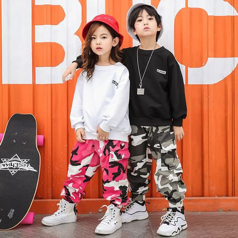 White Black Sweatshirt Camouflage Pants Suit Children Hip Hop Outfit Clothing Kids Boys Girls Jazz Street Wear Dance Costumes-in Ballroom from Novelty & Special Use on AliExpress Hip Hop Outfits, Cute Girl Outfits, Kids Outfits Girls, Little Girl Dresses, Dance Outfits, Hip Hop Graffiti, Girls Fashion Clothes, Fashion Outfits, Kids Fashion Boy
