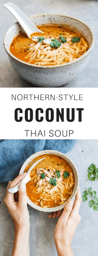 This Northern-Style Coconut Thai Soup can be made vegan and gluten-free. Talk about healthy and easy! #soup #vegan #glutenfree #thai recipes #choosingchia