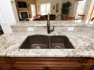 White Granite Countertops And Glass Subway Tile Backsplash Dark
