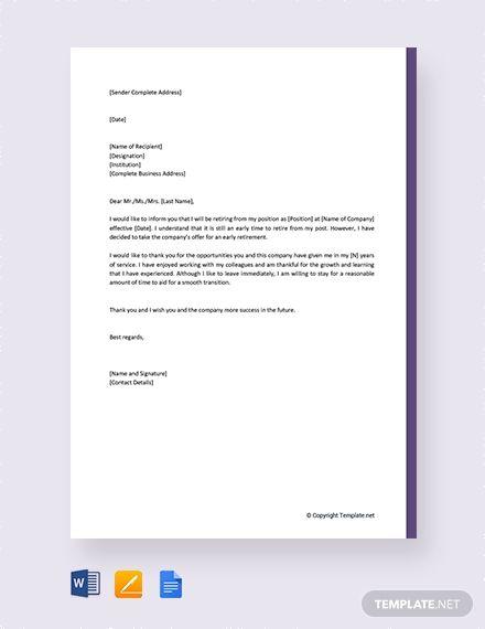 Free Early Retirement Resignation Letter Resignation Letter