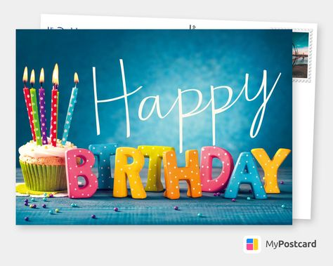 Looking for birthday gifts for him birthday wishes for boyfriend or birthday wishes for dad ? This Happy Birthday postcard design is the perfect gift idea for birthday wishes. Birthday Card | Birthday Quotes | Birthday Wishes | Birthday Greetings. Colorful Birthdaymuffin #Birthday #Him #Dad #Boyfriend #Wishes #Postcard #BirthdayGift #GreetingCard #HappyBirthday
