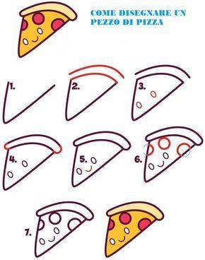 Idea Disegni Facili Da Copiare Come Disegnare Con Tutorial Un Pezzo Di Pizza Disegni Facili Disegni Simpatici Drawing Lessons
