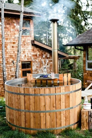 Handcrafted Wood Burning Hot Tubs Made To Last A Lifetime Low Maintenance Hygienic Salt Or Fresh Water Cedar Hot T Hot Tub Outdoor Outdoor Tub Cedar Hot Tub