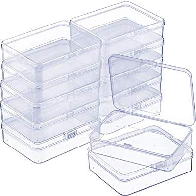 Amazon Com Satinior 12 Pack Small Rectangle Clear Plastic Containers Box With Hinged Lid Bead Plastic Container Storage Bead Storage Clear Plastic Containers