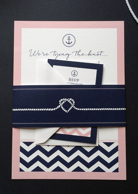 A lovely take on the nautical theme in blush pink & navy - a continuing trend for 2015 that has been popular in 2014. Comes with a crisp white envelope and printed onto super thick 350gsm card. £1.50