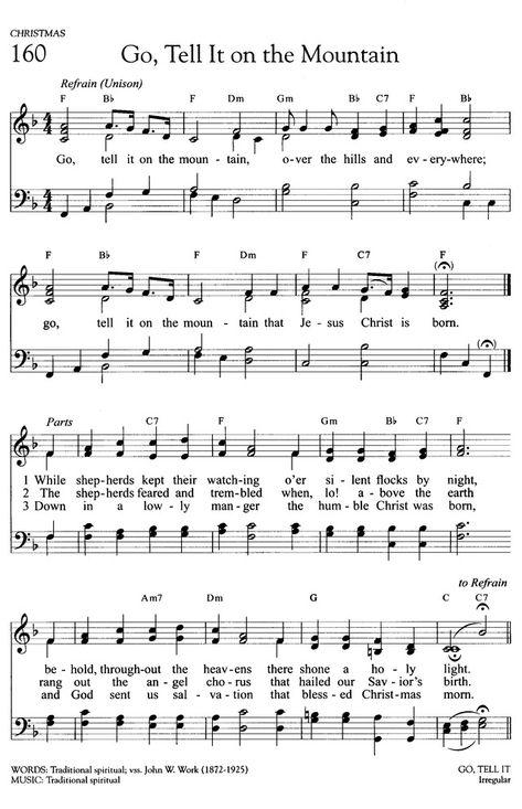 Go, Tell It on the Mountain Gospel Song Lyrics, Great Song Lyrics, Gospel Music, Music Lyrics, Music Songs, Bible Songs, Praise Songs, Worship Songs, Christmas Songs Lyrics