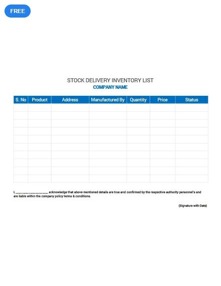 Free Stock Delivery Inventory List Templates List