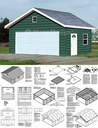 20 X 20 Two Car Garage Building Blueprint Plans Plans Design 52020 753182758350 Ebay Garage Plans With Loft Backyard Garage Garage Shop Plans