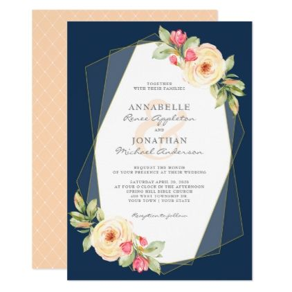 Navy Peach Watercolor Flowers Geometric Wedding Invitation