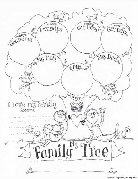 Free Printable Family Tree Coloring Page Family Tree Activity