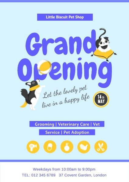 How To Design A Pet Store Grand Opening Poster Click For More Poster Design Online Pet Store Online Pet Store