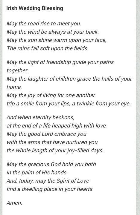 This Will Be Part Of My Ceremony Irish Wedding Blessing