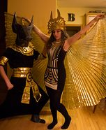 Kelly: My Fiance, Nathan, and I went out at the Egyptian Gods Anubis & Isis. We both have always loved Egyptology and who does't love getting to walk around sporting giant.