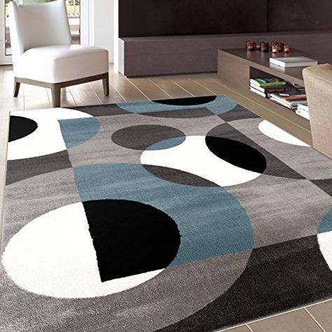 Price Tracking For Rugshop Modern Circles Area Rug 7 10 X 10 2 Blue 100 Blue 7 10 World Rug Gallery Geometric Area Rug Blue Area Rugs