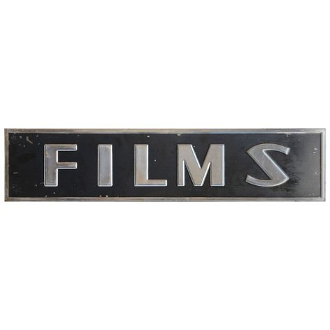 "Art Deco sign "" Films ""  USA  1930  Art Deco metal sign "" Films """