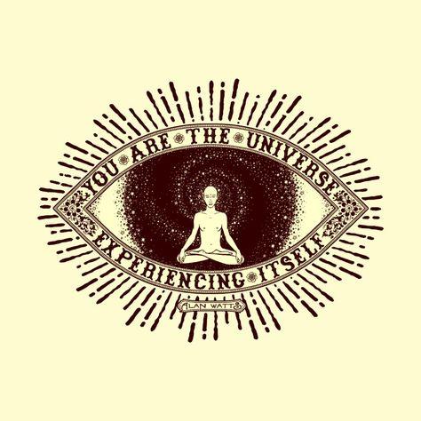 universe-alan-watts mens t-shirt Meditation Tattoo, Meditation Quotes, Mindfulness Meditation, Boho Tattoos, Hippie Tattoos, Eye Tattoos, Universe Tattoo, Tarot, Alan Watts