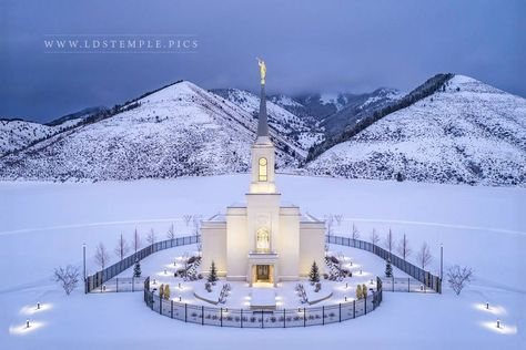 Star Valley Temple Winter Aerial - A winter storm passes over the Star Valley Wyoming Temple, as seen from the skies. Lds Temple Pictures, Lds Pictures, Church Pictures, Mormon Temples, Lds Temples, Star Valley Temple, Star Valley Wyoming, Ancient Greek Architecture, Gothic Architecture