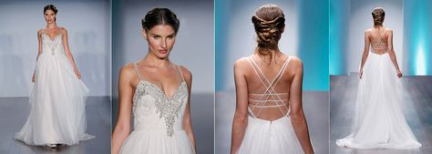 Ivory / Blush English Net tiered A-line bridal gown with a beaded and embroidered neckline and natural waist bodice.  Thin double spaghetti straps criss-cross over low open back. Bridesmaids Dresses & Bridal Gowns by Alvina Valenta - JLM Couture - Bridal Style AV9508 by JLM Couture, Inc.