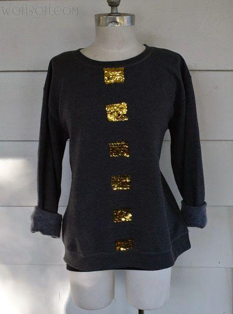 Block Sequin Sweatshirt: DIY