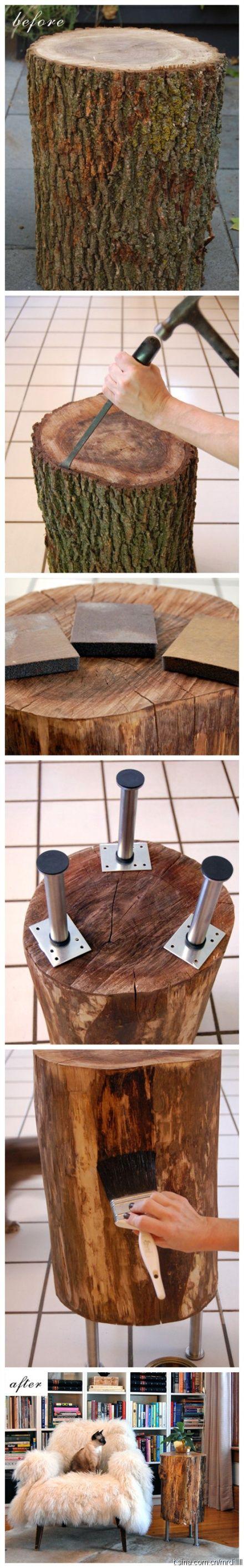 DIY boomstam tafeltjes. Het is een leuk alternatief voor een salontafel of nachtkastje. Maar je kunt het boomstam tafeltje gebruiken als bijzettafel of kruk