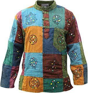 SHOPOHOLIC FASHION Mens Stripe Hippie Grandad Shirt