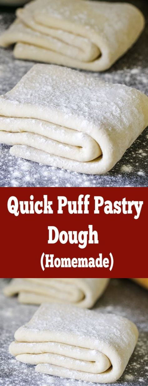Easy and perfectly flakey puff pastry for any dessert, made quickly at home. #momsdish #easyrecipe #puffpastryrecipe #homemadepuffpastry #desserts #homemadedough #puffpastry