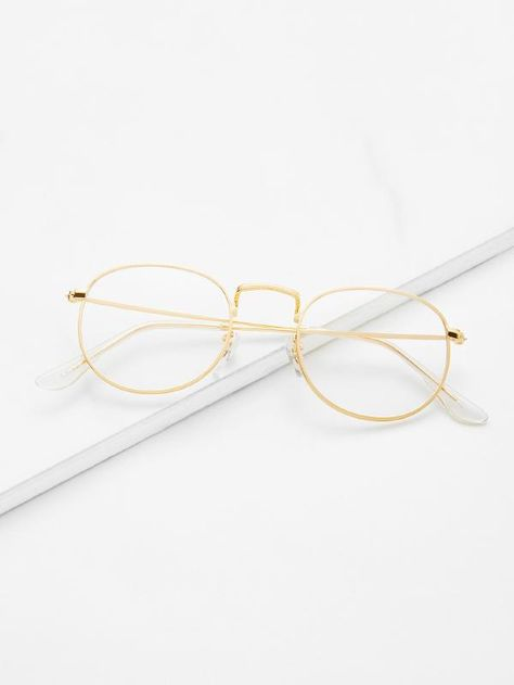 7455b0ba435 Gold Frame Clear Lens Glasses -SheIn(Sheinside)