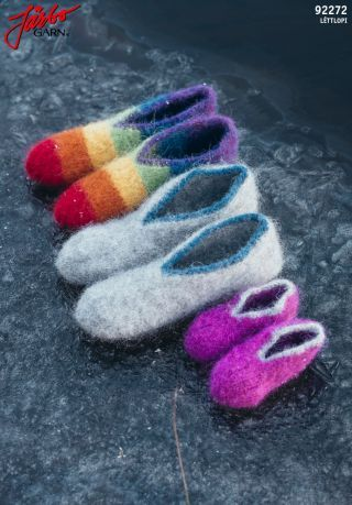 92375. Tofflor till små och stora fötter   Sticka sockor