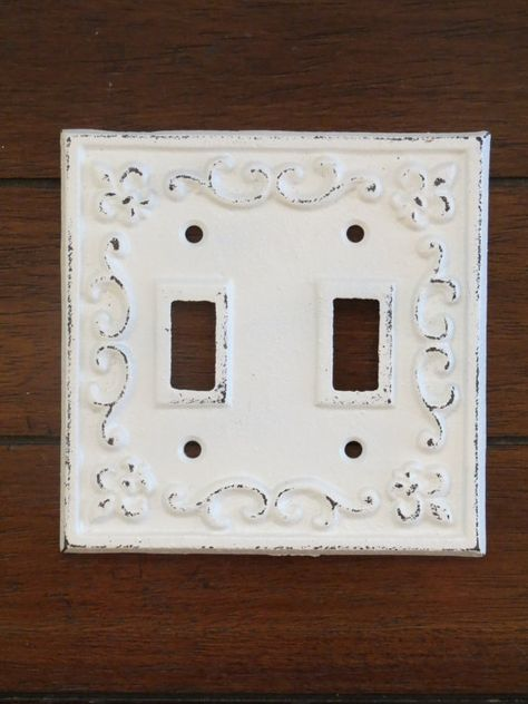 Double Light Switch Plate Antique White