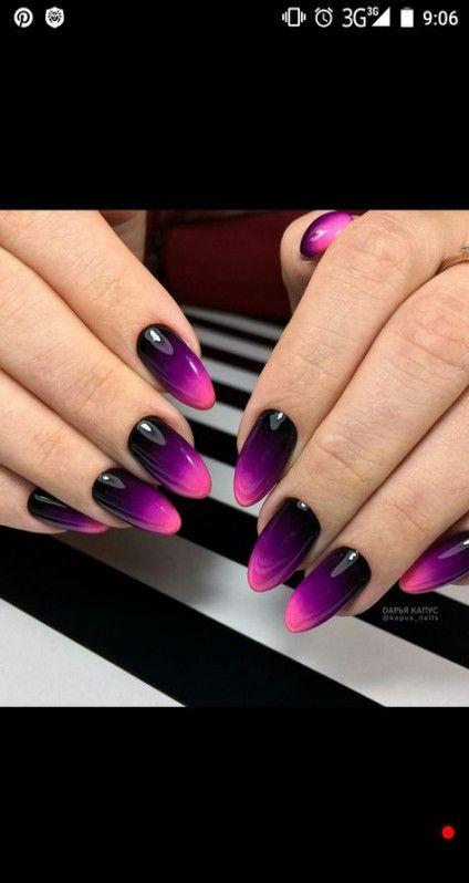 25 Ideas Nails Ombre Black Purple Pink Nails Trendy Nails Nails