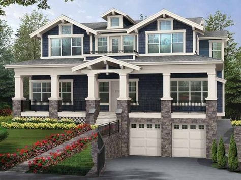 House plan with a garage that doesn't take up house floor space but is still attached. LOVE