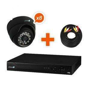 Pack vidéosurveillance 8 caméras kit 1 - contenu du pack : 1 enregistreur numérique et sa télécommande 8 caméras dômes et leurs supports de fixation 8 câbles dual de 20m pour alimenter les caméras au niveau de l'enregistreur 1 autocollant dissuasif L'alimentation de tous les appareils La notice d'utilisation
