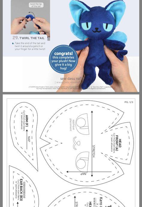 Plushie Patterns, Animal Sewing Patterns, Softie Pattern, Sewing Stuffed Animals, Stuffed Animal Patterns, Craft Tutorials, Sewing Tutorials, Sewing Toys, Sewing Crafts