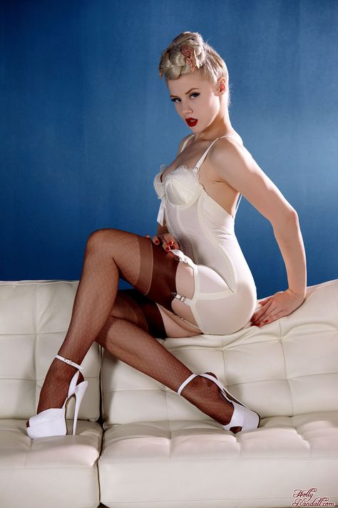 Awesome blonde bitch in retro stockings and