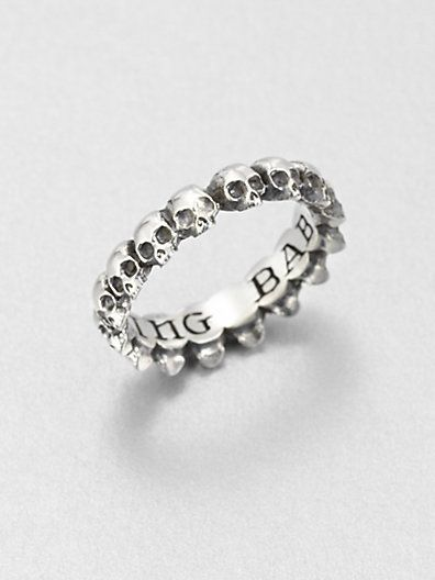 King Baby Studio  Sterling Silver Skull Infinity Ring