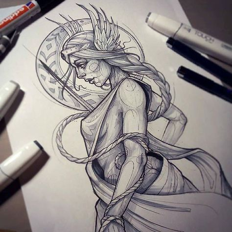 Here's a beautiful #freya #goddess #sketch from Rock.in.rabbit who creates all … – Norse Mythology-Vikings-Tattoo