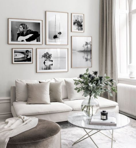 Gallery wall in Scandinavian design with black and white posters