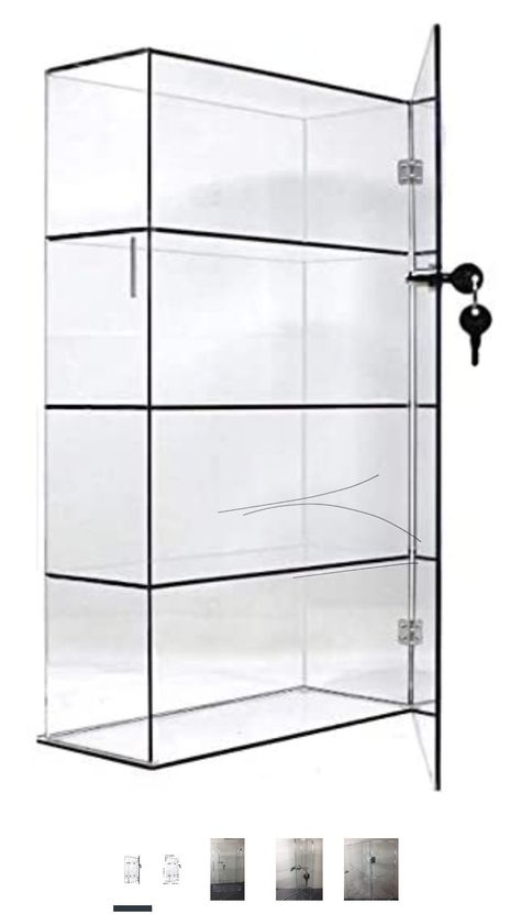 Display Case with Fixed Shelving Lockable - STYLE A - 10x4x18 Clear Acrylic Display Case with Fixed Shelving Lockable