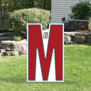 1 Ft 11 In Yard Sign Expression Letter M Lettering Yard Signs Gold Letter Balloons