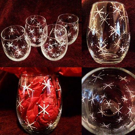 Snowflake Decorative Stemless Wine Glasses By Artbylesamalee