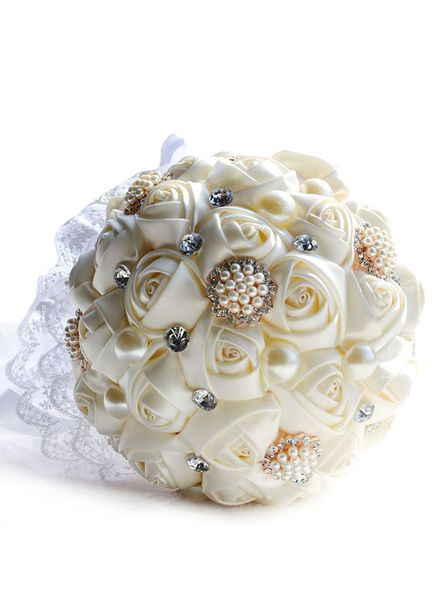 Wedding Flowers Bouquet Pearls Rhinestones Lace Round Shaped