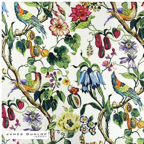 James Dunlop Indent - Madagascar - Rainforest  | Curtain & Upholstery fabric - White, Deco, Decorative, Floral, Garden, Jacobean, Natural Fibre, Pink, Purple, Traditional