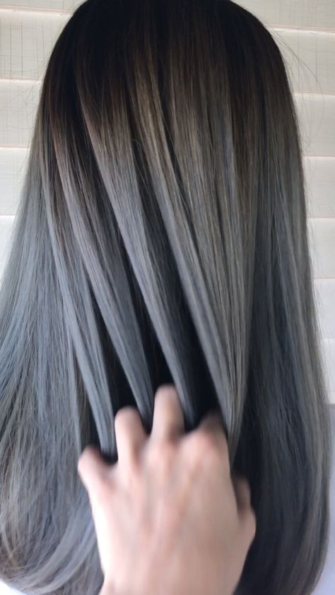 THE PERFECT ASH SILVER BALAYAGE ON ASIAN HAIR
